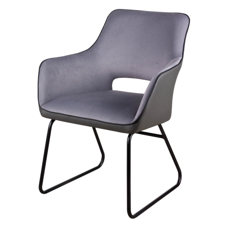 Sill n delia tapizado color gris light con patas de metal somcasa - Sillon gris ...