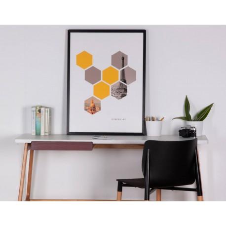 Cuadro HEXAGONS negro 60x80