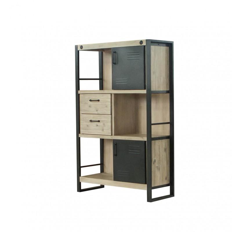 Librero bajo de dise o industrial con madera y metal boston somcasa Muebles de diseno industrial