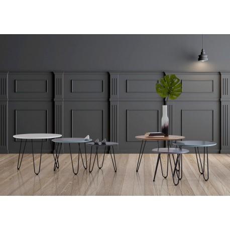 Set mesas centro FABIO blanco,azul,gris dark
