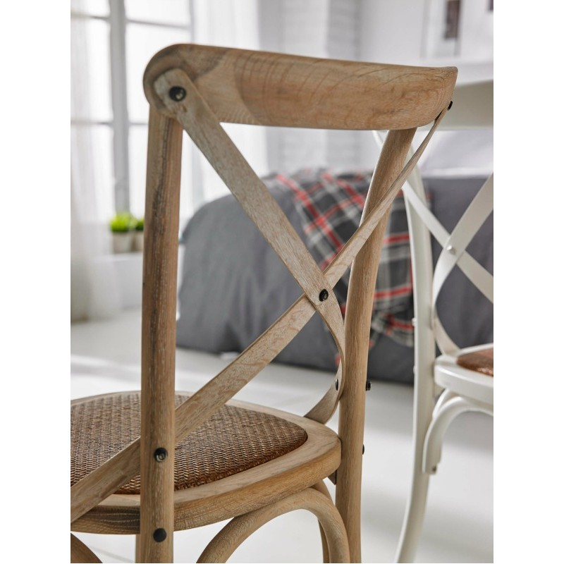 Silla madera ariana con asiento rattan color roble for Silla vintage reposabrazos roble natural
