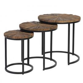Set mesa auxiliar NAKUL madera