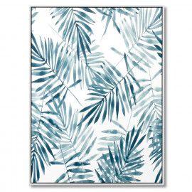 Cuadro BLUE PALM blanco 60x80