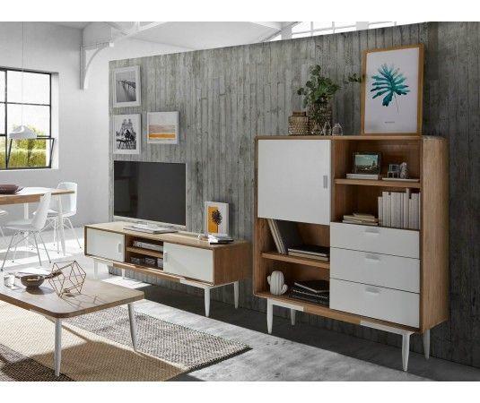 Muebles nórdicos blanco y madera de acacia para comedor ...